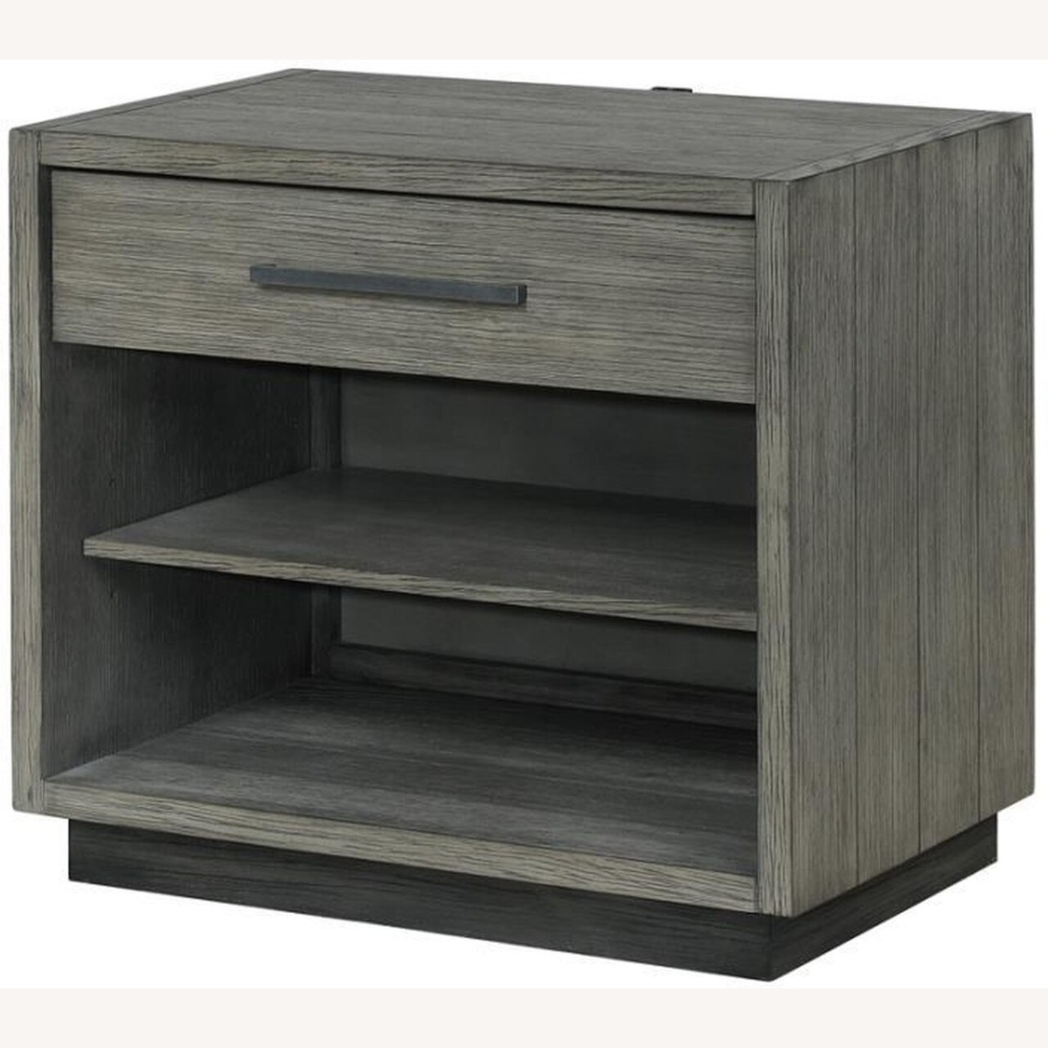 Modern Nightstand Crafted In Grey Oak - image-0