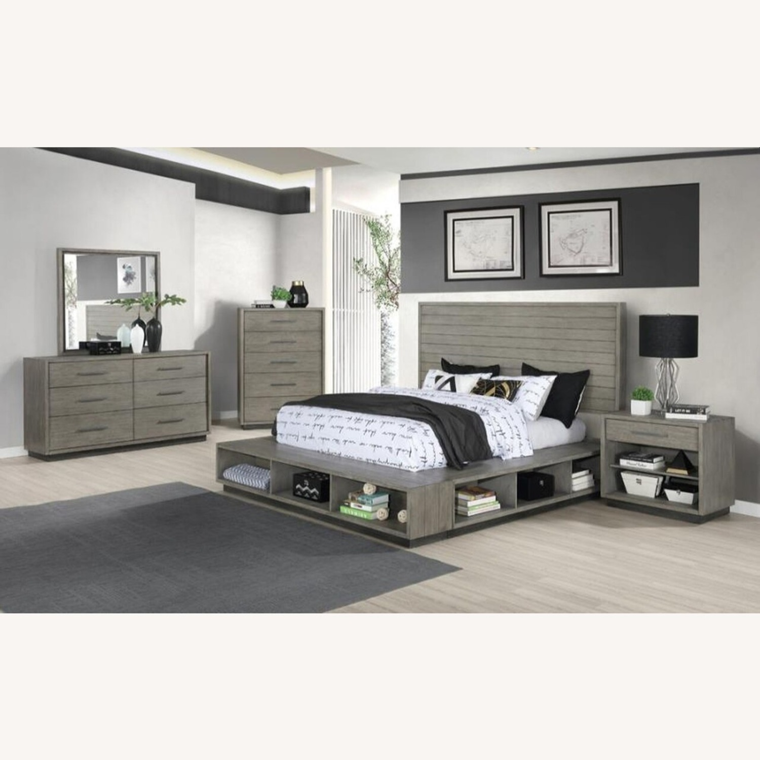 Modern Nightstand Crafted In Grey Oak - image-2