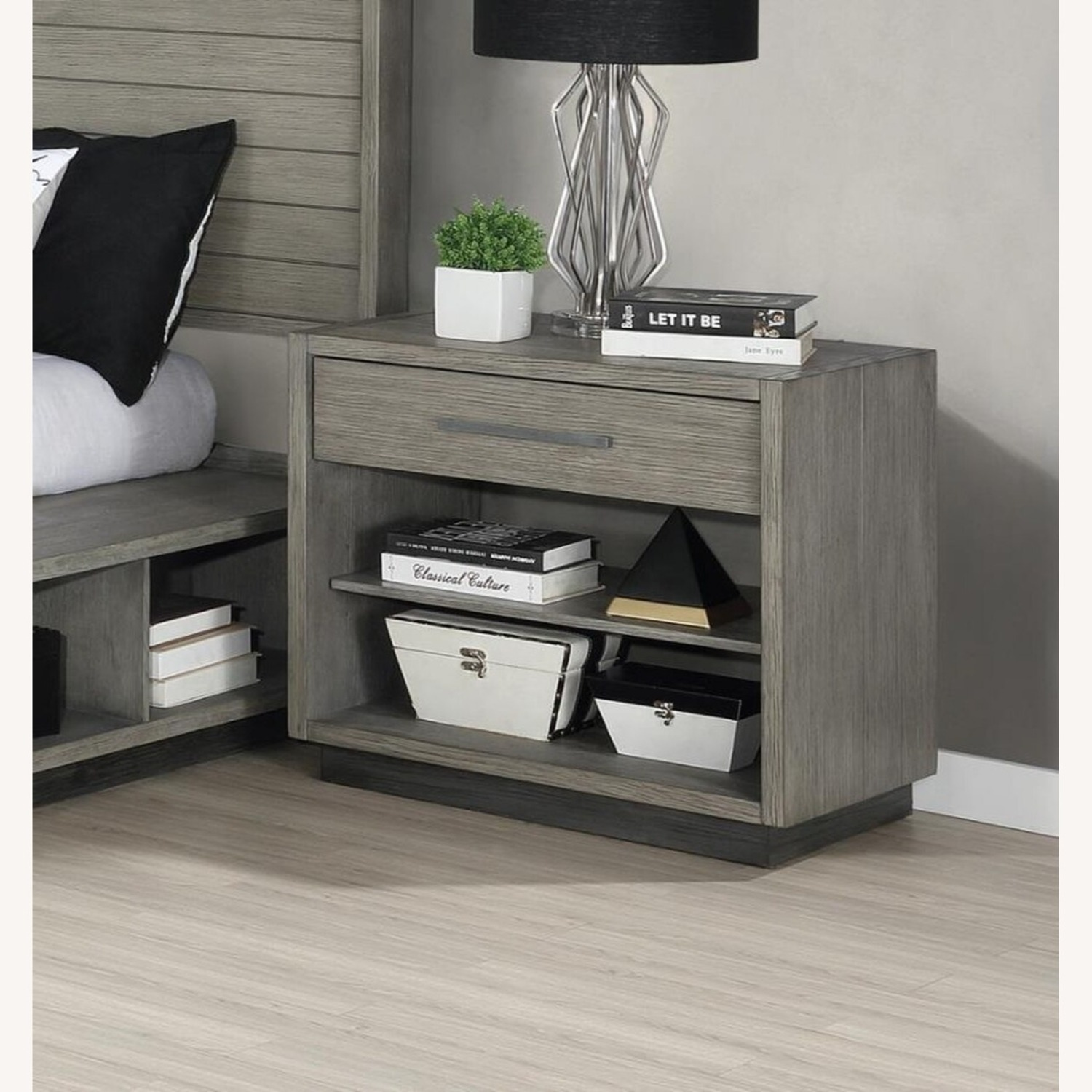 Modern Nightstand Crafted In Grey Oak - image-1