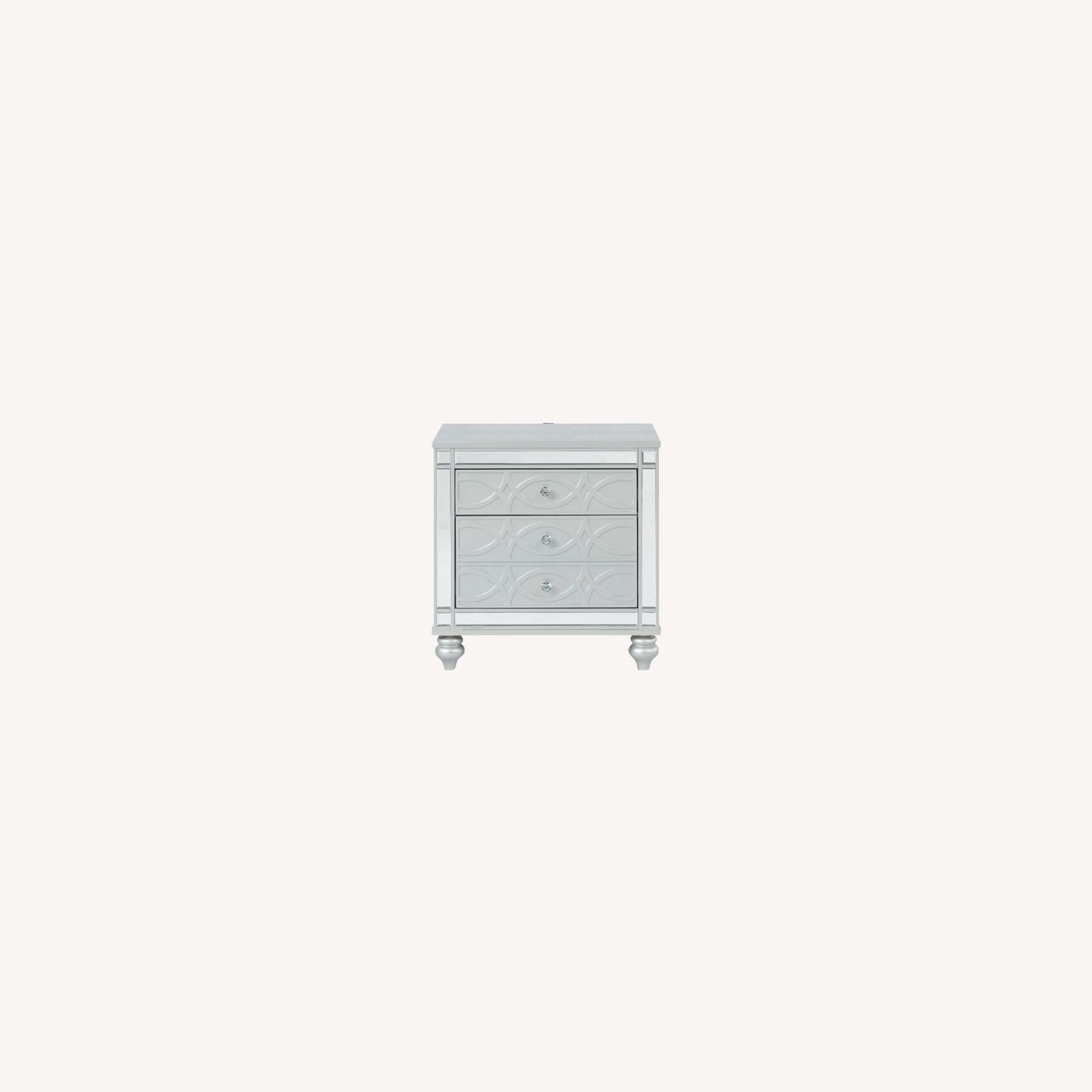 Nightstand In Silver Metal Finish - image-5