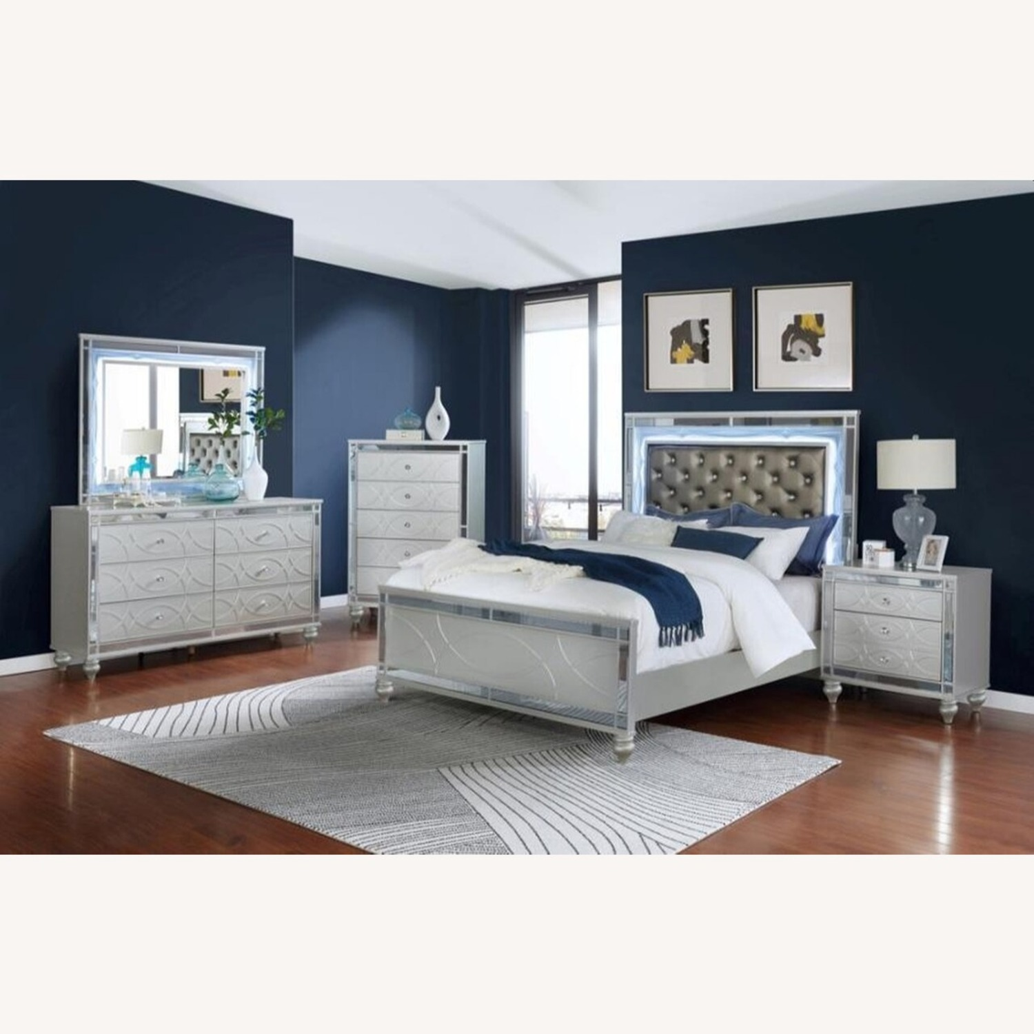 Nightstand In Silver Metal Finish - image-4