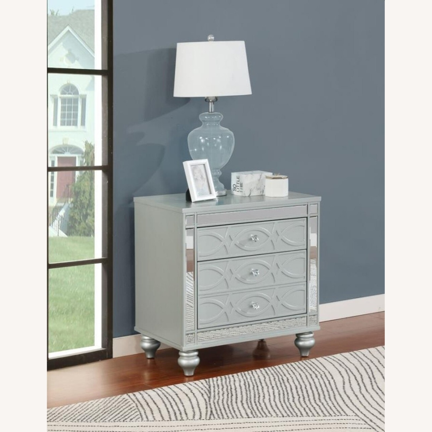 Nightstand In Silver Metal Finish - image-3