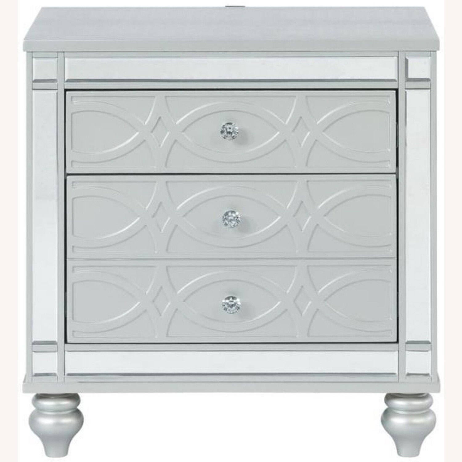 Nightstand In Silver Metal Finish - image-1