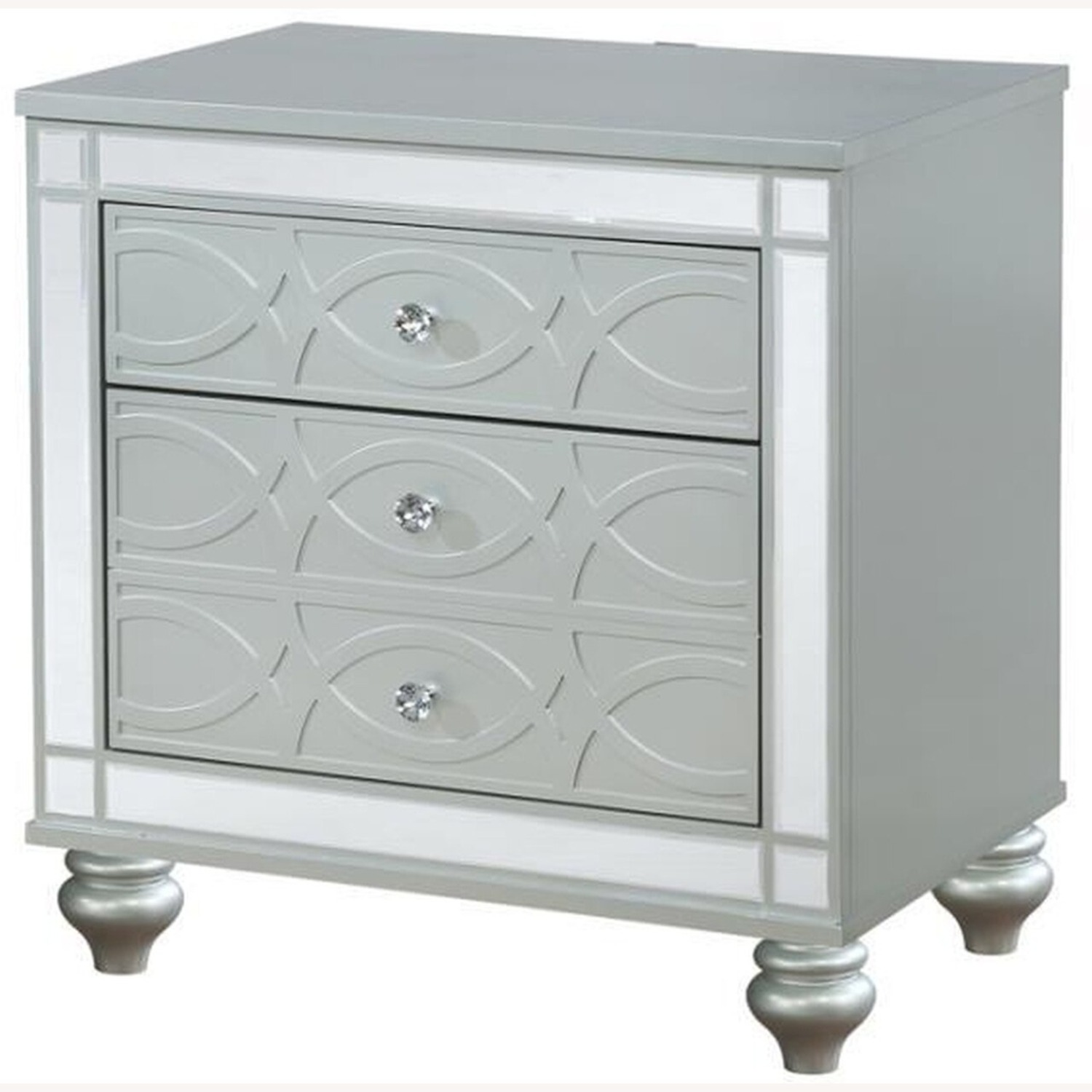 Nightstand In Silver Metal Finish - image-0