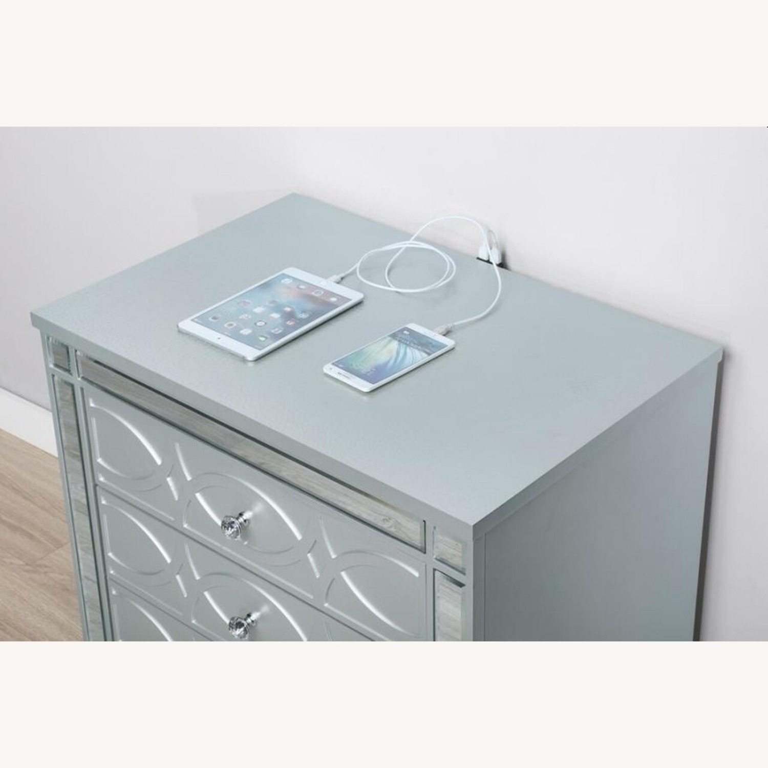 Nightstand In Silver Metal Finish - image-2