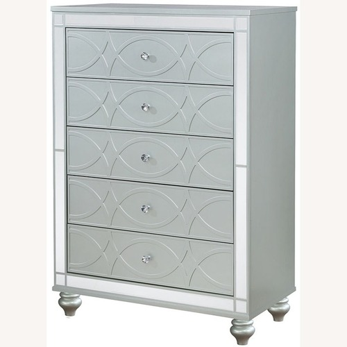 Used Modern Chest In Silver Metal Finish for sale on AptDeco