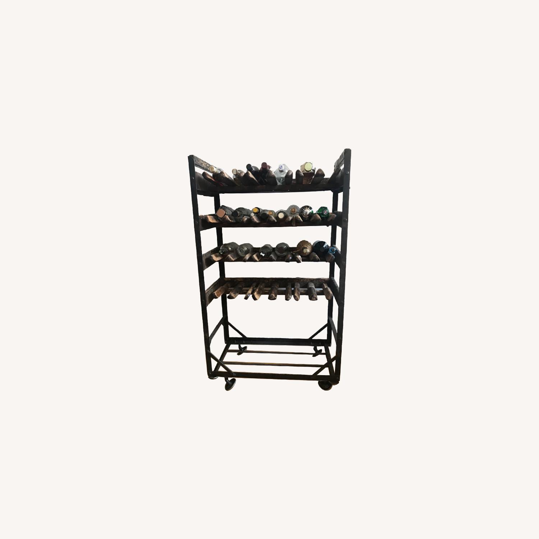Vintage Antique Wine Rack Bar Cart - image-0