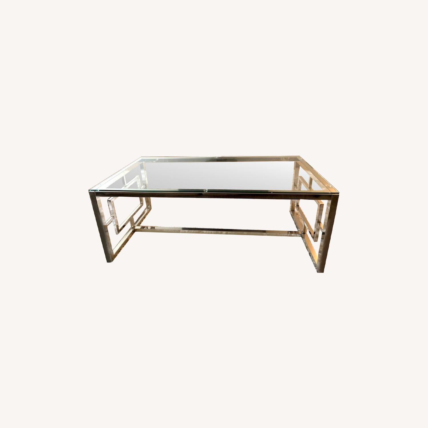 All Modern Glass / Silver Coffee Table - image-0