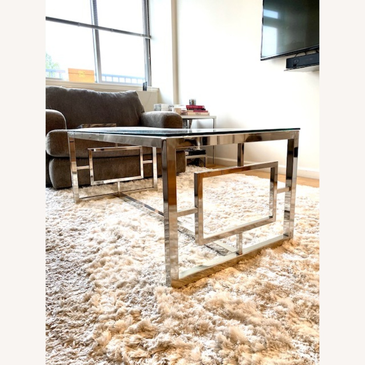 All Modern Glass / Silver Coffee Table - image-2