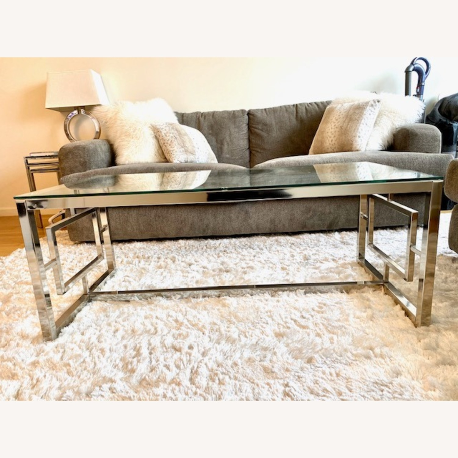All Modern Glass / Silver Coffee Table - image-1