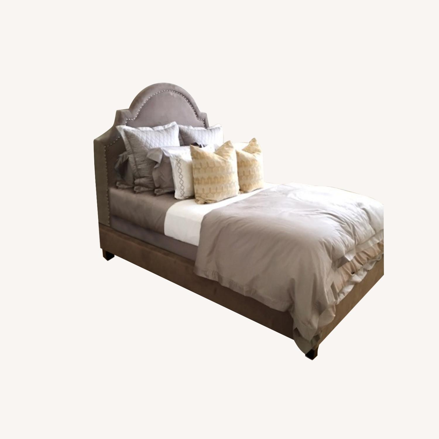 Z Gallerie Studded Bed Queen - image-0