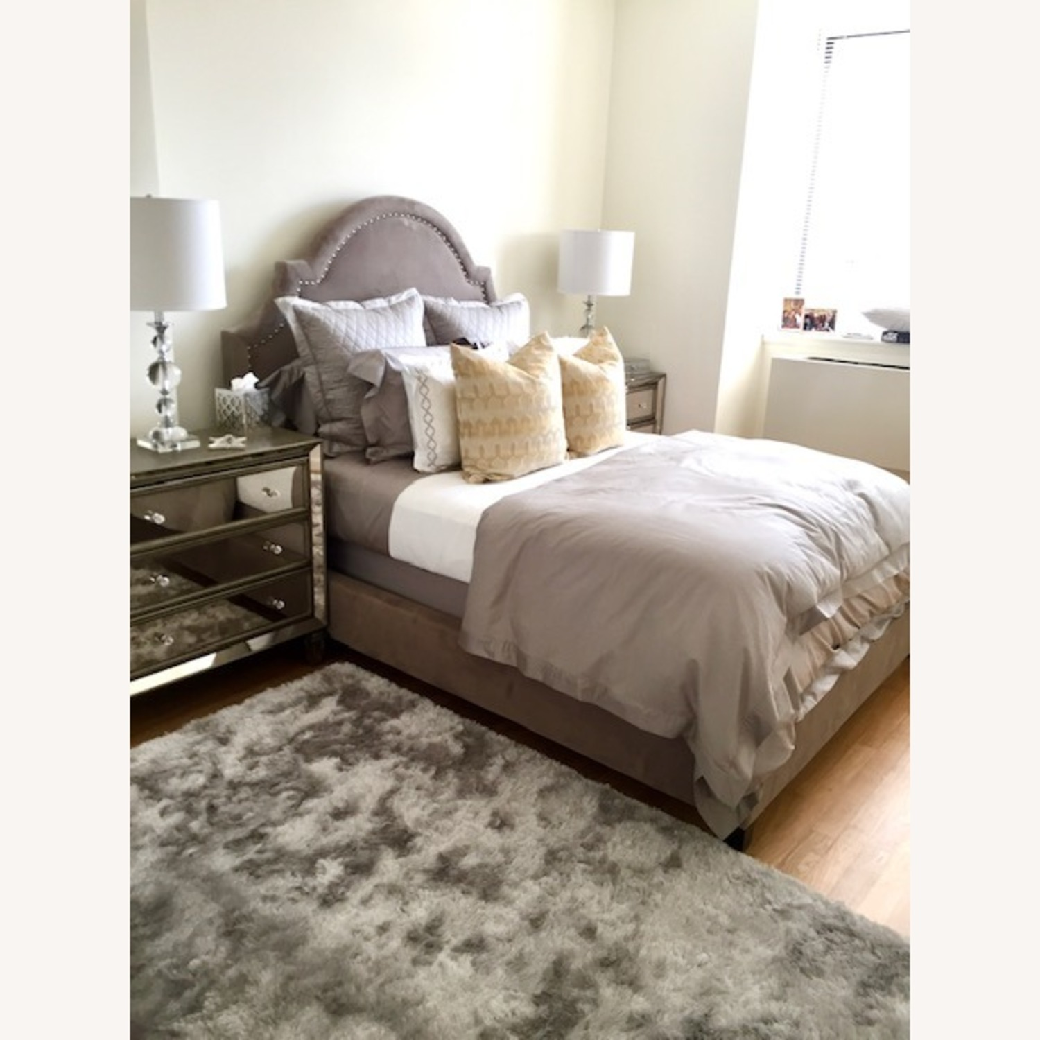 Z Gallerie Studded Bed Queen - image-1