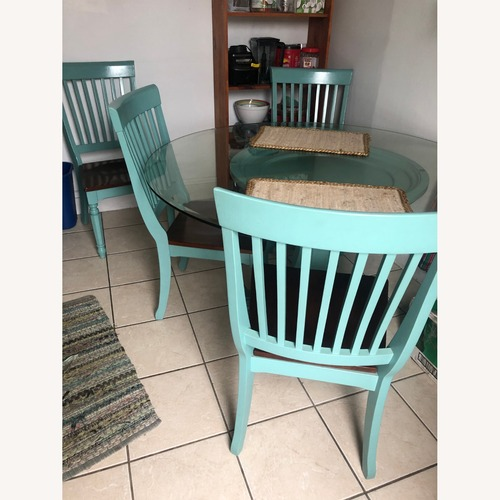 Used Cindy Crawford Turquoise Blue 5 pc Dinning Set for sale on AptDeco
