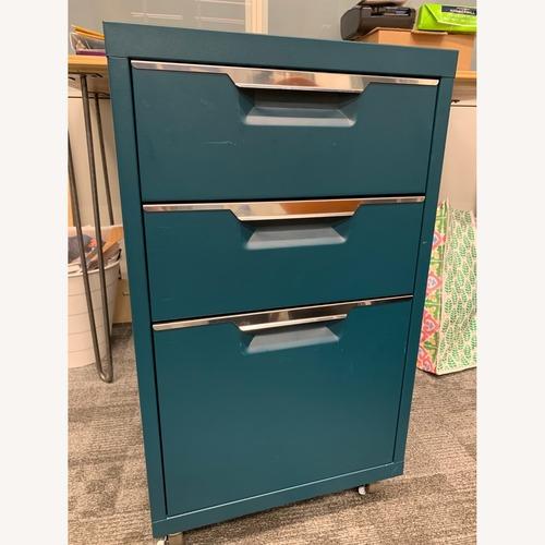 Used CB2 Teal File Cabinet (Set of 2) for sale on AptDeco