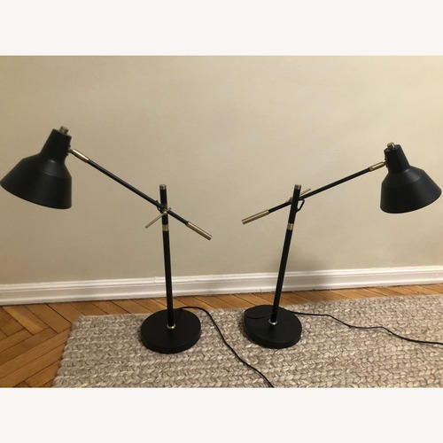 Used Lambs & Ivy Black and Gold Table Lamps (Set of 2) for sale on AptDeco
