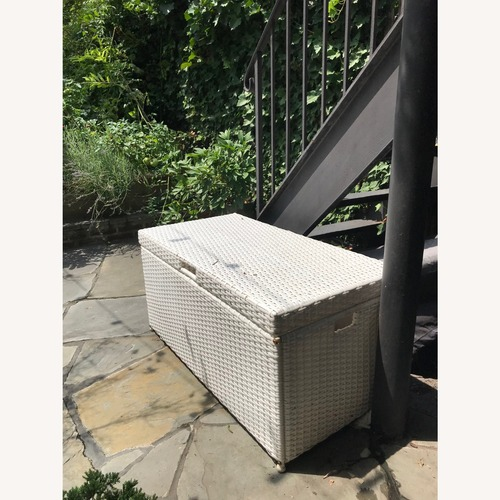 Used CB2 White Outdoor Garden Storage Chest for sale on AptDeco