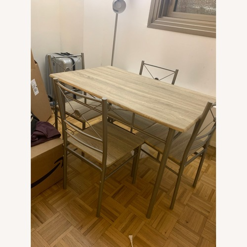Used Houzz Modern Wooden Dining Table Set for sale on AptDeco