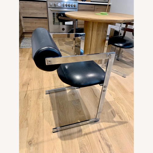 "Used Black Leather ""Post Modern"" Dining Chair Set for sale on AptDeco"