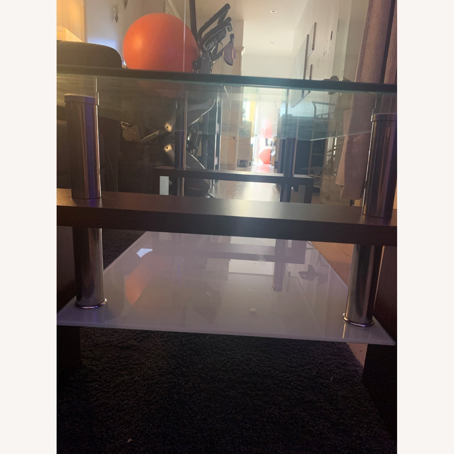 Modern Double Shelf Coffee Table w/ Metal Frame - image-2