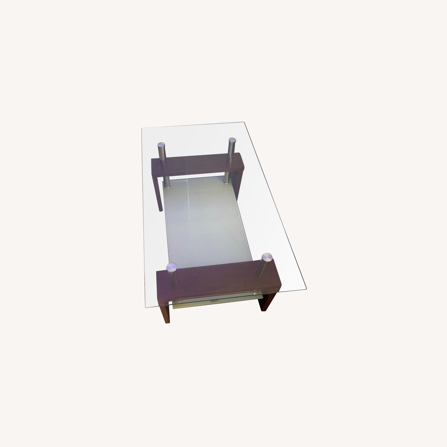 Modern Double Shelf Coffee Table w/ Metal Frame - image-0