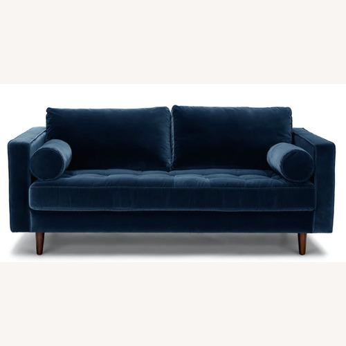 Used Article Sven Cascadia Blue Velvet Sofa for sale on AptDeco