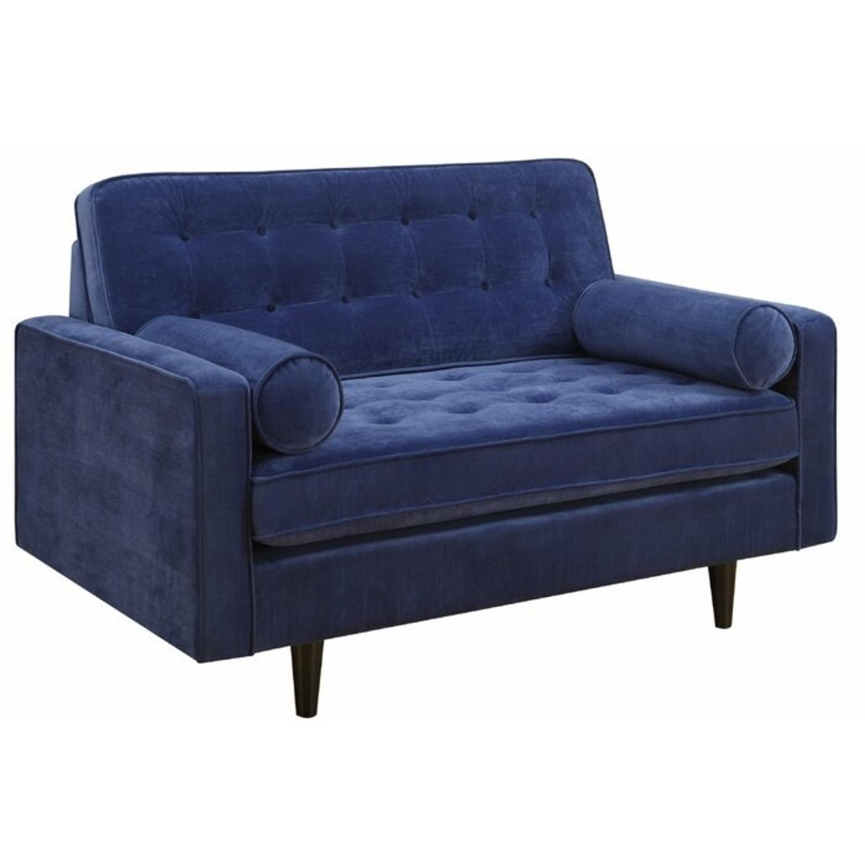 Royal Blue Velvety Smooth Polyester Loveseat - image-3