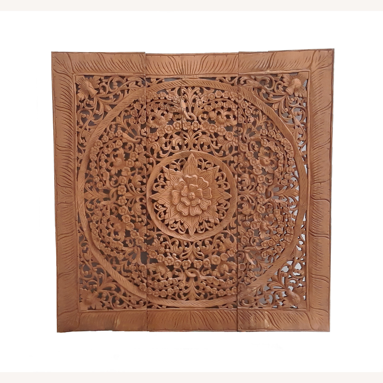 VivaTerra Teak Lotus Handcarved Wall Panel - image-0