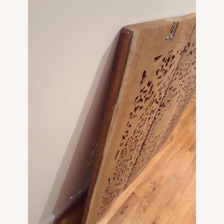 VivaTerra Teak Lotus Handcarved Wall Panel - image-5