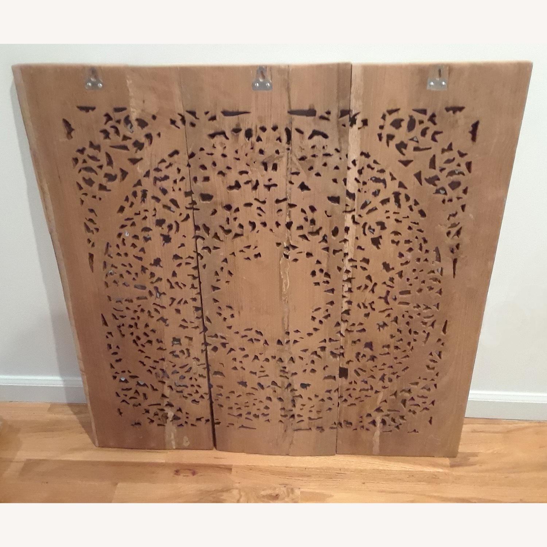 VivaTerra Teak Lotus Handcarved Wall Panel - image-1