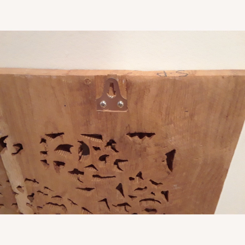 VivaTerra Teak Lotus Handcarved Wall Panel - image-3