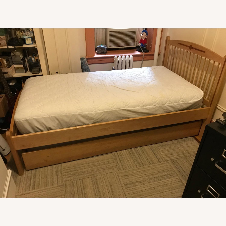 Hardwood Twin Bed w/Hardwood Trundle - image-1