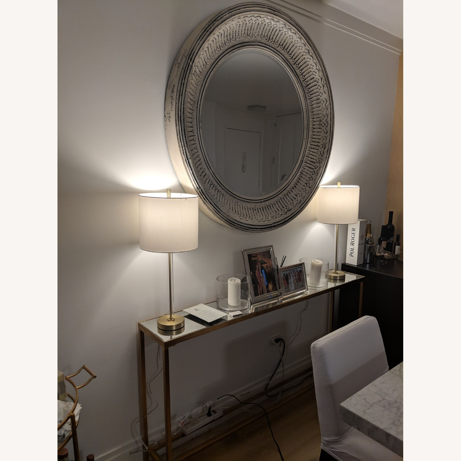 Pottery Barn Winslet Mirror Large Round White - image-3