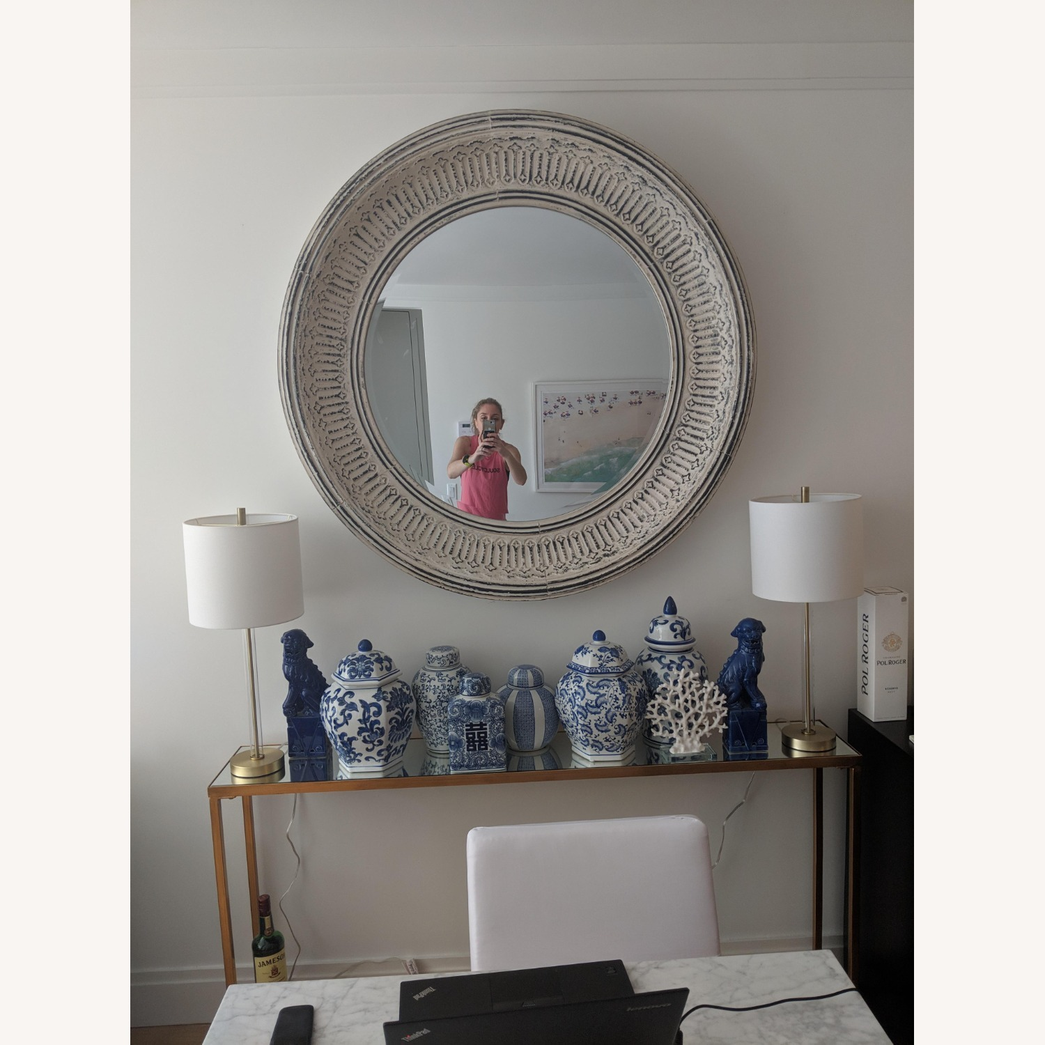 Pottery Barn Winslet Mirror Large Round White - image-2
