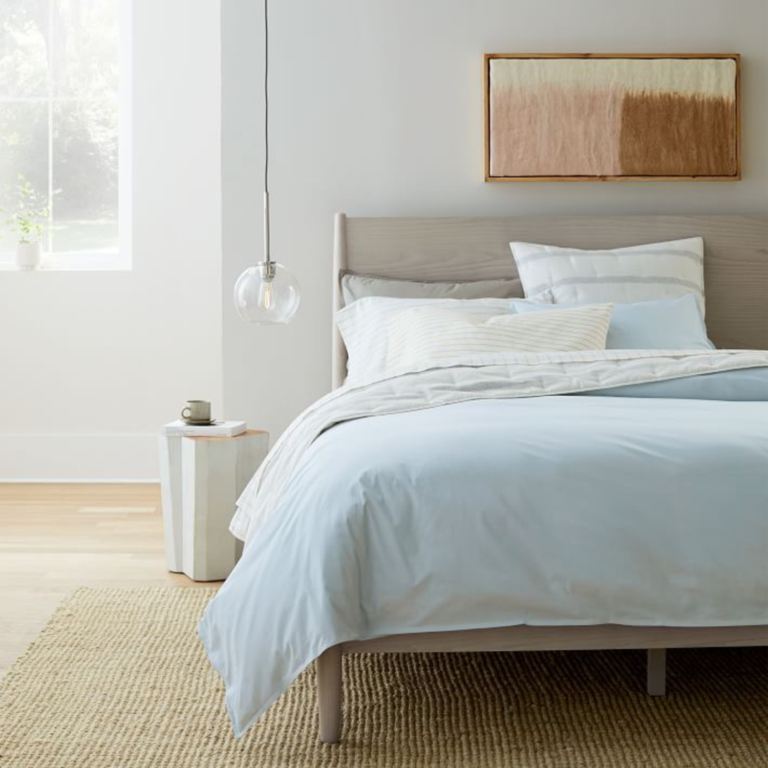West Elm Mid Century Bed- Pebble, King - image-3