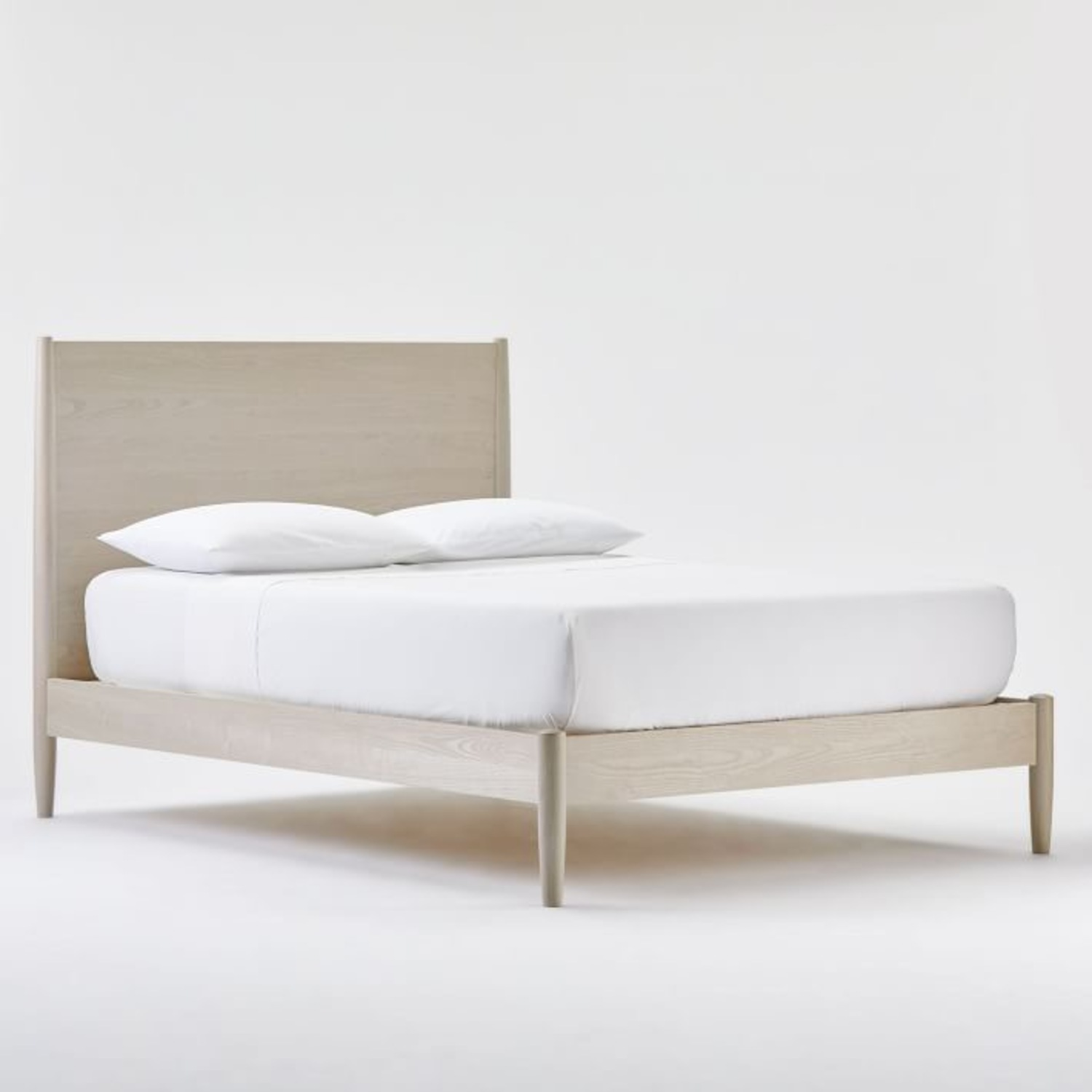 West Elm Mid Century Bed- Pebble, King - image-1
