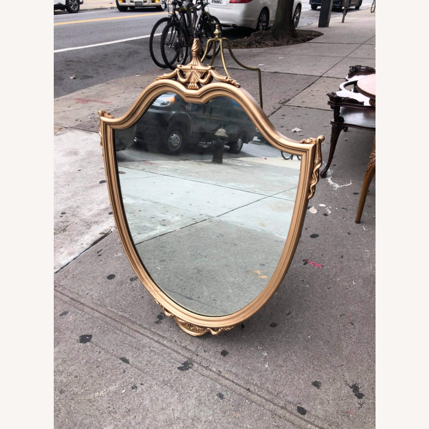 Antique 1920s Gold Painted Wooden Framed Mirror - image-2