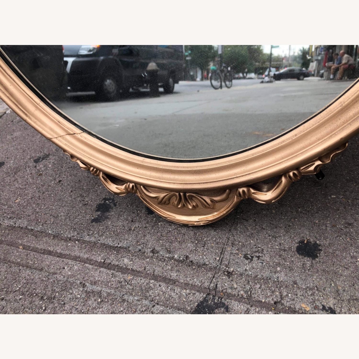 Antique 1920s Gold Painted Wooden Framed Mirror - image-6