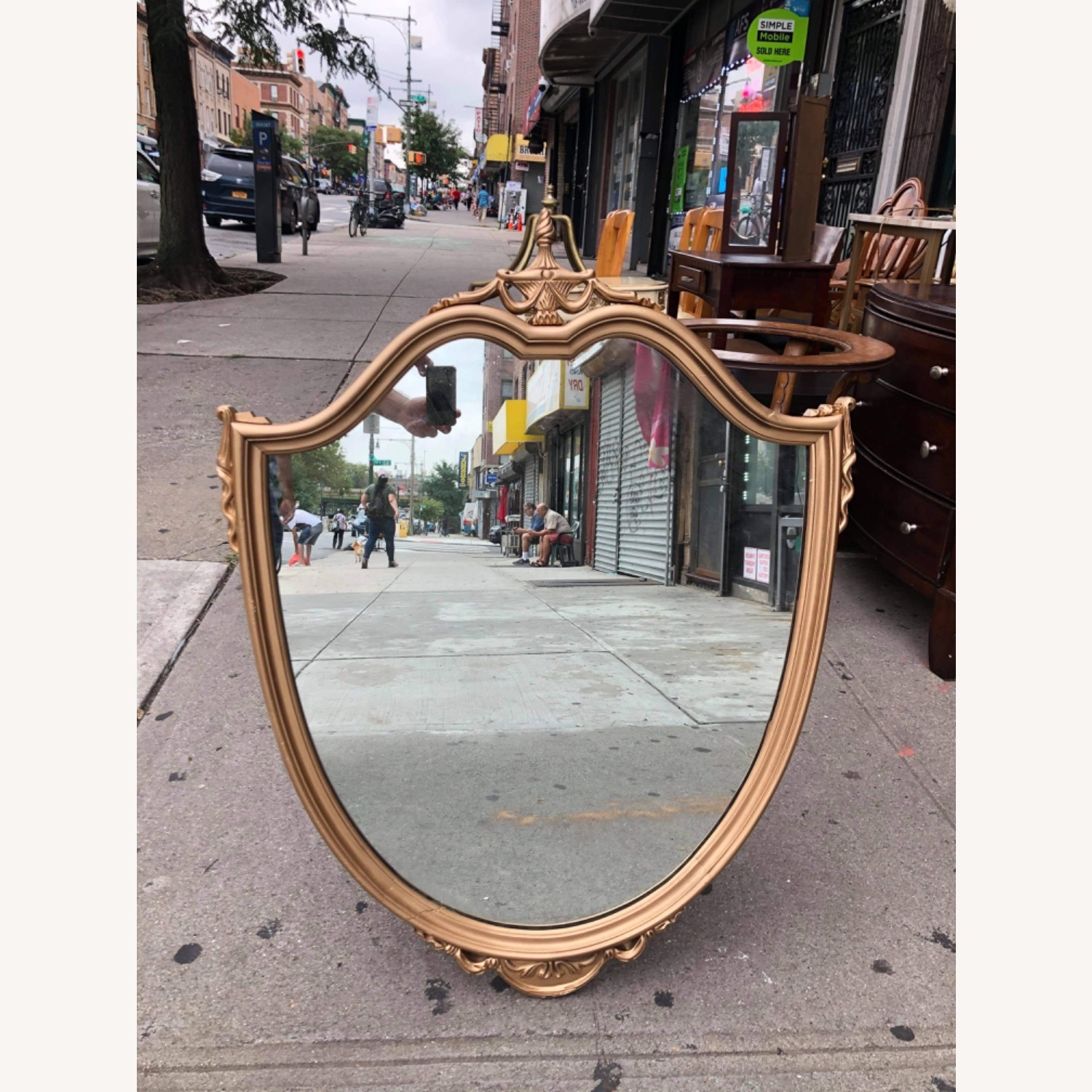 Antique 1920s Gold Painted Wooden Framed Mirror - image-1