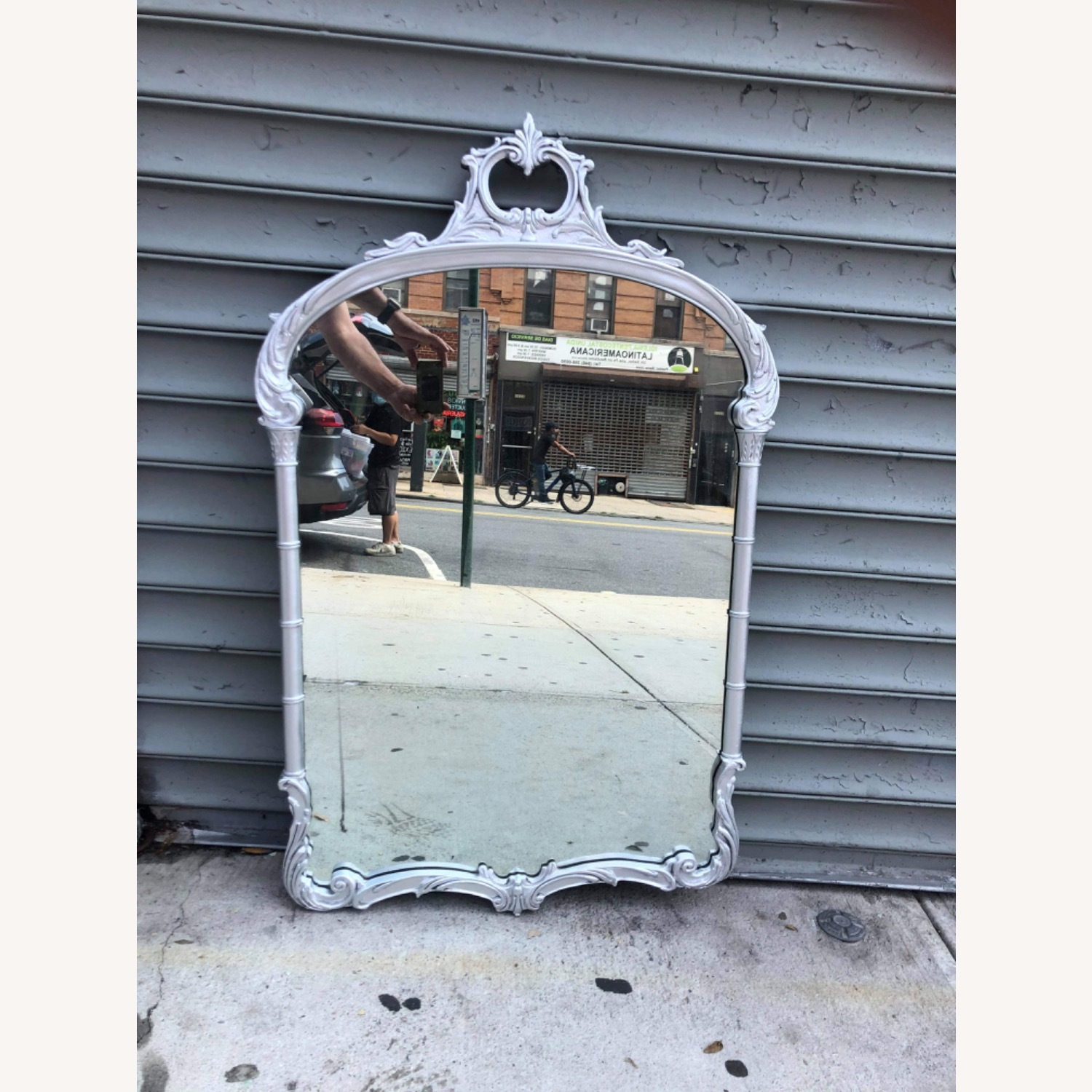 Antic1920s Silver Painted Wooden Framed Mirror - image-1