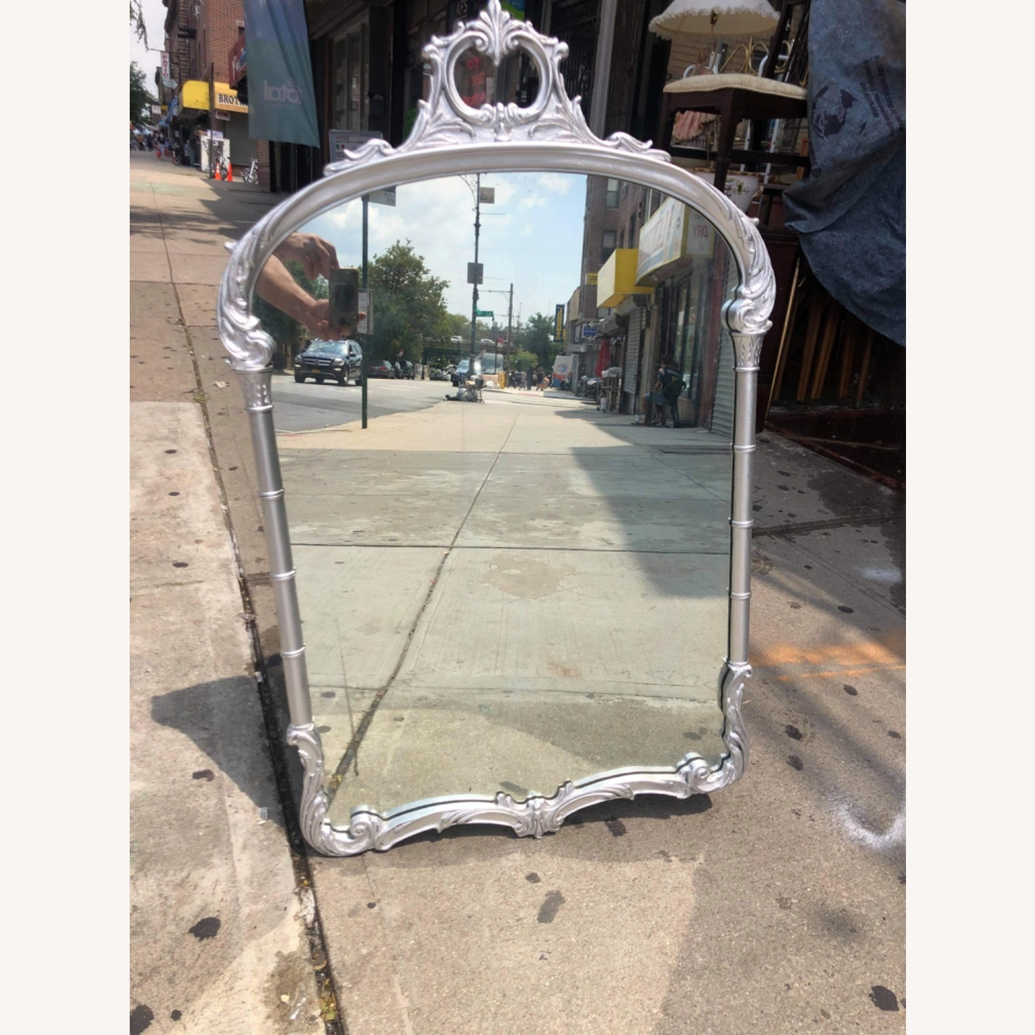 Antic1920s Silver Painted Wooden Framed Mirror - image-14