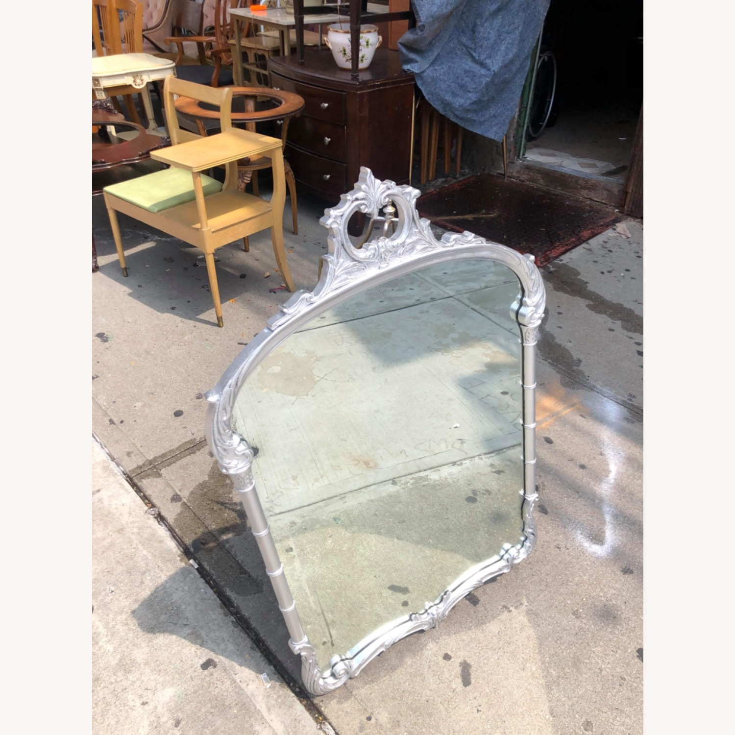 Antic1920s Silver Painted Wooden Framed Mirror - image-11