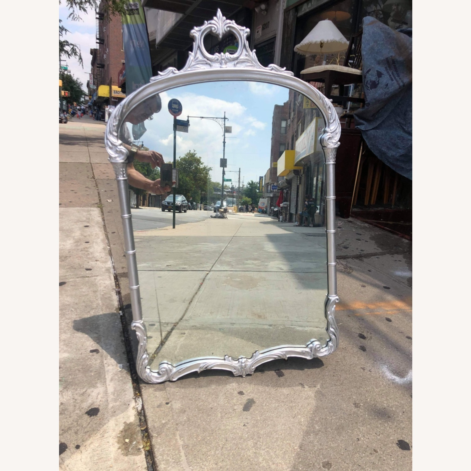 Antic1920s Silver Painted Wooden Framed Mirror - image-12