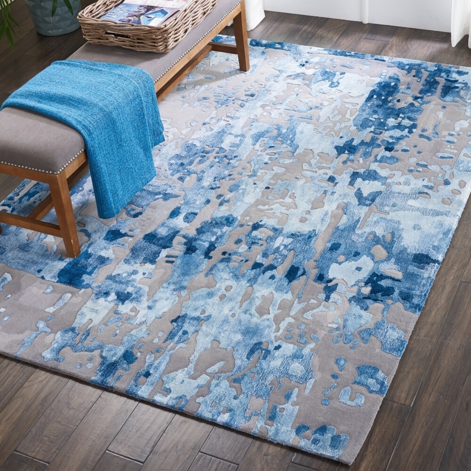 Nourison Blue Gray Abstract Area Rug 8ft x 10ft - image-1