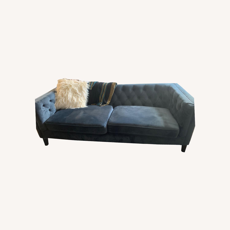 World Market Blue Velvet Couch - image-0