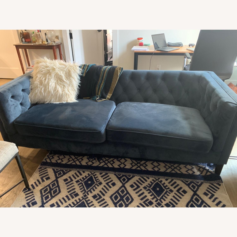World Market Blue Velvet Couch - image-3