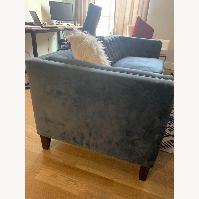 World Market Blue Velvet Couch - image-2