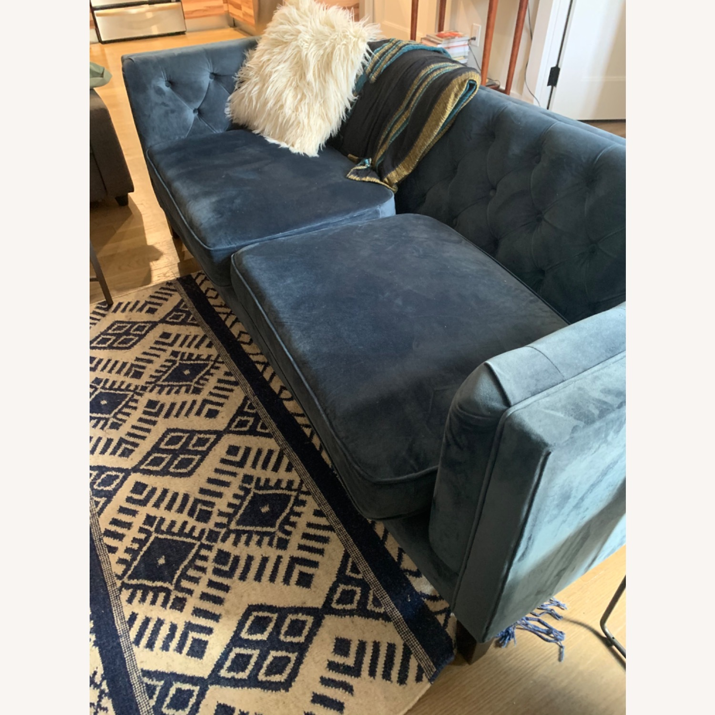 World Market Blue Velvet Couch - image-4