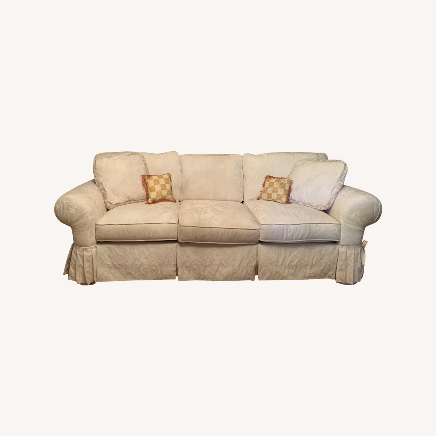 Casual Elegance White Damask Sofa - image-0