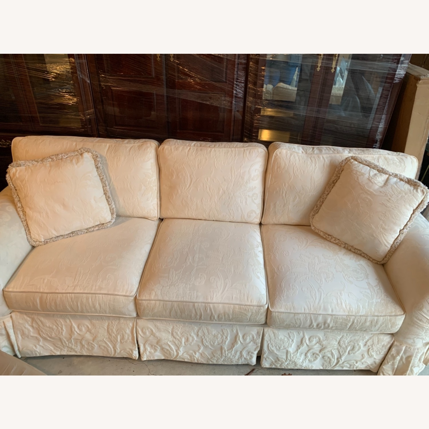 Casual Elegance White Damask Sofa - image-6