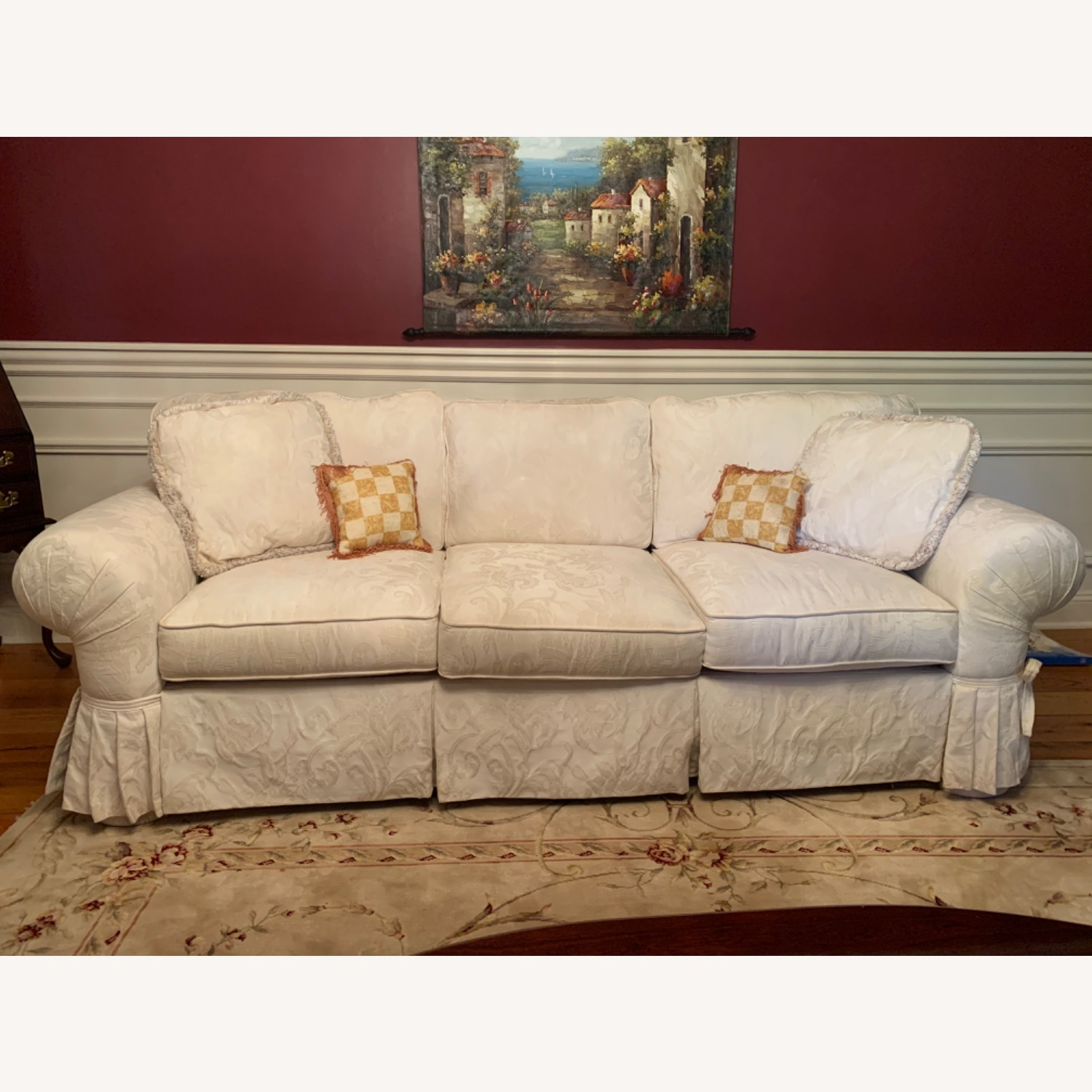 Casual Elegance White Damask Sofa - image-5